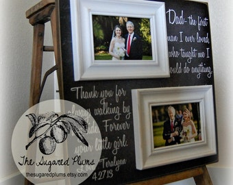 Father of the Bride Picture Frame Gift, Parent Wedding Thank you Gift, Dad The First Man I Ever Loved, Daddy 16x16 Parents Thank You Gift