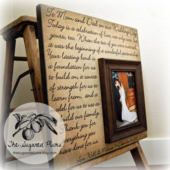 Wedding Gift For Parents Etsy : Parent wedding gift, Parent thank you Gift, Parent wedding gift frame ...