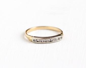 Sale - Vintage 14k Yellow & White Gold Channel Set Diamond Wedding Band Ring - 1/5 CTW Art Deco 1930s Two Tone Wedding Band Fine Jewelry