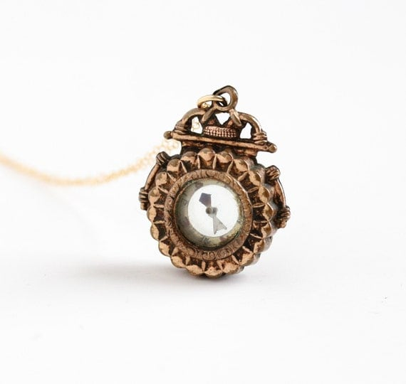 Antique Victorian Compass Necklace Vintage Gold Filled Late
