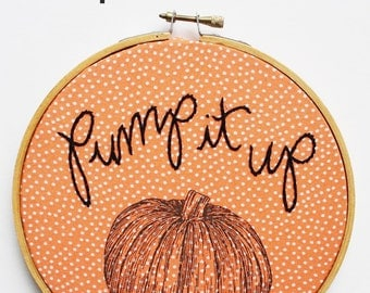 Embroidered Pumpkin Art, Pumpkin Lovers, Fall Home Decor, Funny Gift, Embroidery Hoop Art, Embroidered Art, Wall Hanging, Halloween Decor