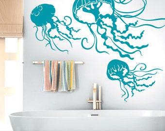 Under the Sea Beach Decor, Bathroom Wall Decor, Sea Life Wall Decor, Marine Life Decal, 3 Jellyfish Vinyl Wall Decals