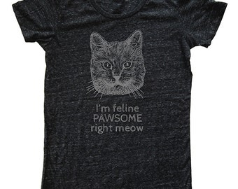 Womens Shirt - Funny Cat Shirt - Feline Pawsome Right Meow - T Shirt - Womens Tri Blend Dark Gray - Hand Printed Sizes S, M, L, XL