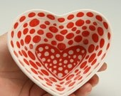 Small Deep Heart Shaped Red and White Bowl Dinnerware