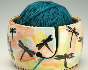 Ceramic Dragonfly Yarn Bowl for Knitting and Crochet, Knit Happy - Hand Painted Dragonflies, Fiber Twine Bowl, Dragonfly Decor