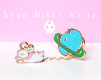 Bunny rabbit and Saturn planet Brooch pin