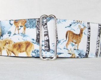 SALE Snow Deer Martingale Dog Collar (1.5 or 2 inch) winter holiday deer animal wildlife country white brown fawn river grehound galgo