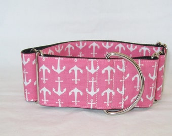 Anchors on Pink Martingale Collar - 1.5 Inch - white sailing boat ship nautical