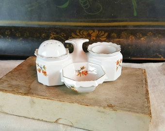 Vintage Porcelain Salt and Pepper Caddy, Condiment Dish, White with Tiny Orange and Gold Flowers, Made in Czechoslovakia, Scalloped Edge