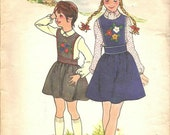 1970s Girl's Sewing Pattern Embroidered Jumper Complete with Transfers Size 8 Butterick 3821 Vintage Sewing Pattern Round Neckline Transfers