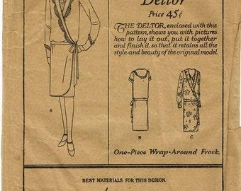 1920s Flapper Miss Fisher V Neckline Scallop Trim Drop Waist Wrap Dress Butterick 1467 Unused FF Bust 36 Womens Vintage Sewing Pattern