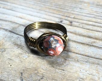 size 8 - earthy bohemian Leopard Jasper stone antique brass gold wire wrapped ring - gemstone jewelry men women unisex handmade
