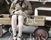 Virginia and her Wagon-Digital Image Download-Vintage Photo