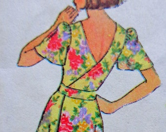 70s Back Wrap Dress Pattern Sz Small Simplicity 7428 American Hustle Style