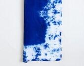 Shibori Indigo Large Square Silk Chiffon  Scarf - Lace Border