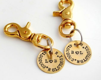 HIS and HERS Keychains. Pair of Salty Dog Key Fobs. CUSTOM Longitude Latitude. Wedding. Bridal Pair. Bride and Groom. Long Distance Love.