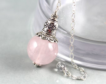 Rose Quartz Pendulum, Gemstone Pendulum, Crystal Pendulum, Divination, Intuition, Magic, Scrying, Fortune Telling, Wiccan, Wicca, Dowsing