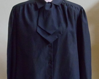 "Vintage 70's Lady Manhattan Black Long Sleeved Blouse with Detachable Jabot Bust 47"" Waist 45"""