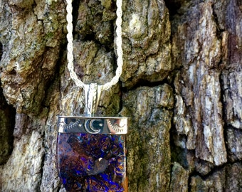 Cosmic Vibes- Crescent Moon Boulder Opal Necklace