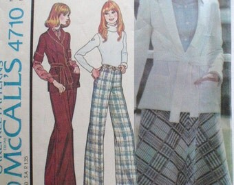 Unlined Sweater Jacket, Bias Skirt and Straight Leg Pants Sewing Pattern - McCall's 4710- Size 12, Bust 34