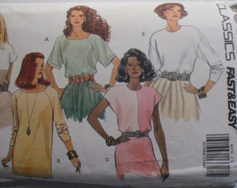 Fast and Easy Pullover Tops - Color Blocked, Raglan Sleeves - Classic Butterick 6170 - Sizes L (16-18) - XL (20-22), Bust 38 - 44