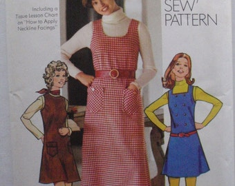 Simplicity 5203 - Easy How To Sew Pattern - 1970's Jumper With Neckline Options - Size 10, Bust 32 1/2