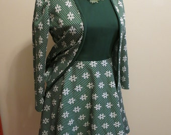 Dress green floral skater sleeveless with matching jacket stretch 1970s vintage daisy XL