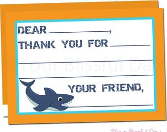 Shark Party Fill-in-the-Blank Thank You Cards | Shark Thank You Cards | Shark Thank You Card #5002