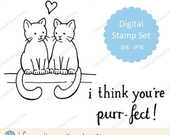 Purr-fect Cats Digital Stamp set - for valentine's day, wedding, anniversary, love, line drawing - Instant Download DS012