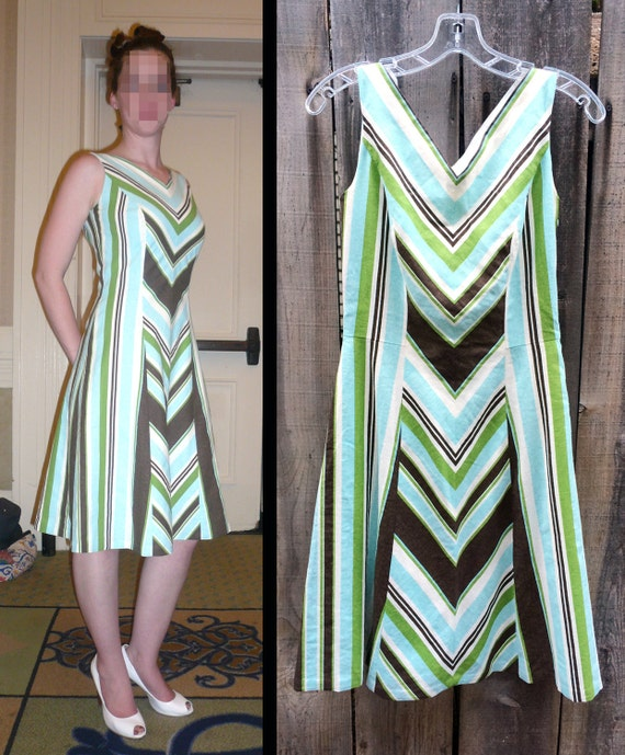 Handmade Chevron Striped Linen Dress: Blue, White, Green, and Brown