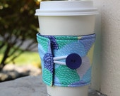 Fabric Coffee Cup Cozy - Blue, Green and Yellow Hipster Scallop - Pretty Coffee Sleeve -Bridesmaid Gift - Teacher or Coworker Present