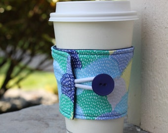 Fabric Coffee Cup Cozy - Blue, Green and Yellow Hipster Scallop - Pretty Coffee Coozie Sleeve -Bridesmaid Gift - Teacher or Coworker Present