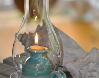 Pottery Oil Lamp in Turquoise