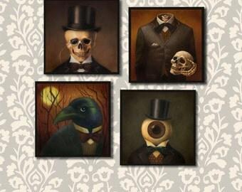 Gothic Coasters - Victorian - Steampunk Coaster Set - Skull - Skeleton - Raven- Jack'O Lantern - Halloween - Spooky
