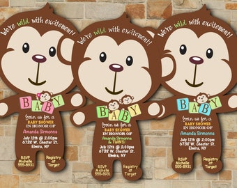 Monkey Baby Shower Invitations, Jungle Baby Shower Invitation, Safari Invitation, Monkey Baby Shower Monkey Baby Shower Invitation Qty of 20