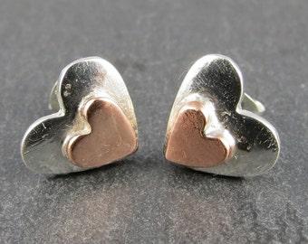 Silver & Copper Heart Stud Earrings