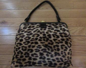 1950s Faux Leopard Print Handbag
