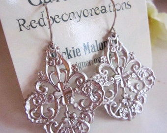 Ornate Silver Earrings, Silver Filigree, Scalloped Edged Earrings, Boho Dangles, Tribal, Moroccan, Redpeonycreations
