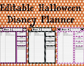 Instant Download Editable Disney Halloween Planner, Agenda, Itinerary