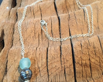 tahitian black pearl and recycled glass necklace