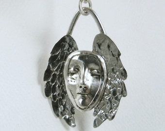 Angel Isabella Is Full Of Grace - Sterling And PMC - Empowerment - Strength - Protection - Echo Friendly - Art Jewelry Pendant -1887