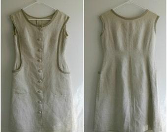 1970s Button up Canvas Dress