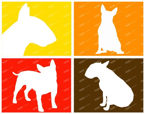 Bull Terrier Print 8x10 or 11X14 Dog Breed Silhouettes