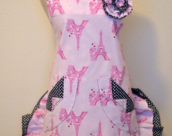 Women's Apron, Paris Print, Retro Apron, Paris Eiffel Tower, Pink, Black Polk a dot