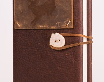 "Refillable 4"" x 6"" Leather Hunting Journal with Deer Tattoo + Antler Concho (JS-52)"