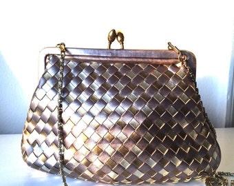 Metallic Woven handbag Holiday purse