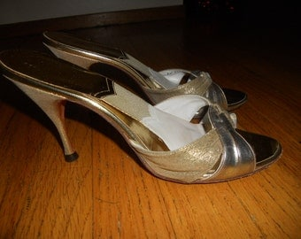 Vintage 1950's  Gold Leather and Gold Lame' Springolator Open Toe High Heels size 8 Narrow