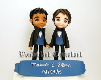 "Deluxe ""4 Same Sex - Wedding Cake Topper - ORIGINAL OOAK Miniature Sculptures - Decor"
