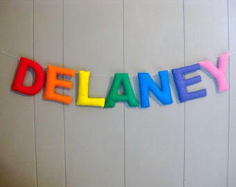 Felt Nursery Name Banner / Hanging Wall Letters / Personalized Bunting / Custom Sign / Baby Bunting / Birthday Party Decor - Multi Color