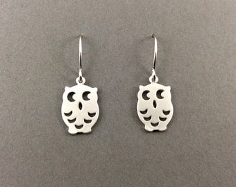 Silver bird earrings, matte rhodium, cut out silhouette, owl, silver woodland earrings, gifts for her, sister gift